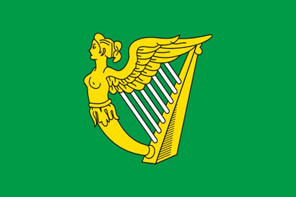 Green Harp Irish Flag