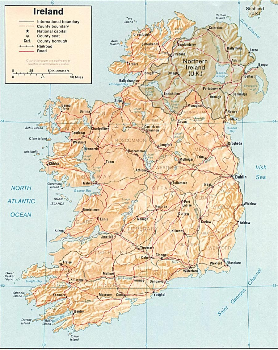 This is a photo of Punchy Printable Road Map of Ireland