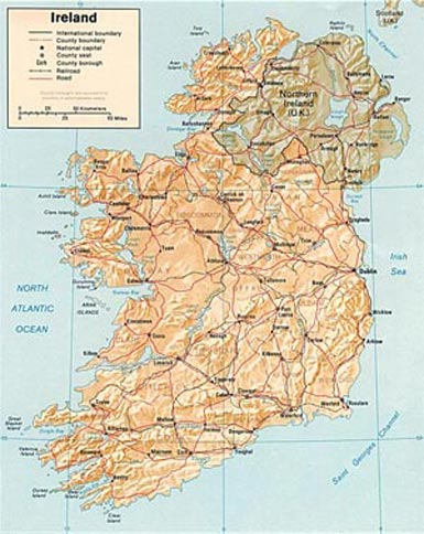 Map of Northern Ireland and Ireland